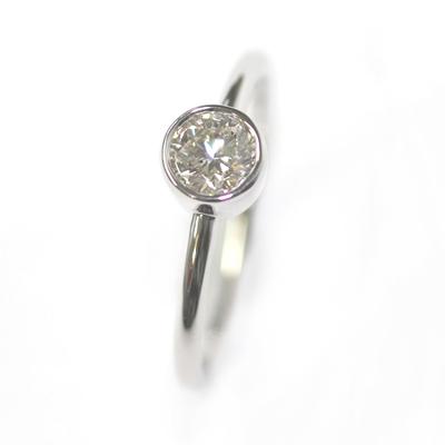 9ct White Gold Solitaire Rub Set Diamond Dress Ring 2.jpg