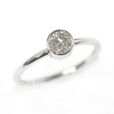 9ct White Gold Solitaire Rub Set Diamond Dress Ring 3.jpg