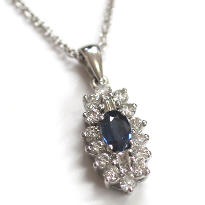 9ct White Gold Diamond and Sapphire Cluster Pendant 5.jpg