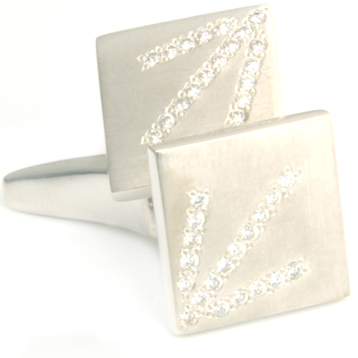 Silver Scintillate Diamond Set Tooth Cufflinks 2.jpg