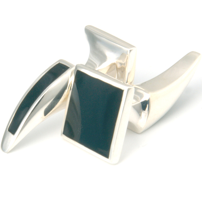 Silver Coordinate Black Enamel Tooth Cufflinks 1.jpg