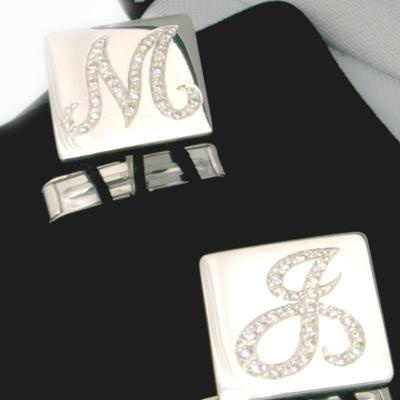 Brilliante Silver Diamond Set Cufflinks 1.jpg