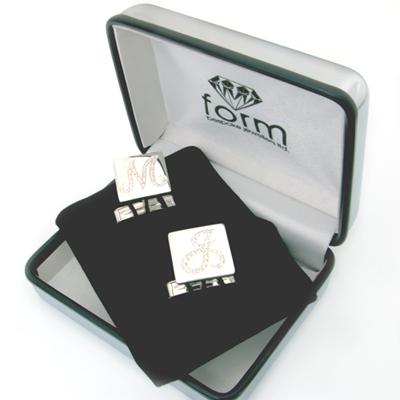 Brilliante Silver Diamond Set Cufflinks 2.jpg