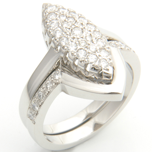 Platinum Diamond Set Fitted Wedding Ring to Pave Engagement Ring.jpg