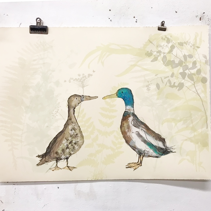 'Bridget and Glen' drying on the wall.
