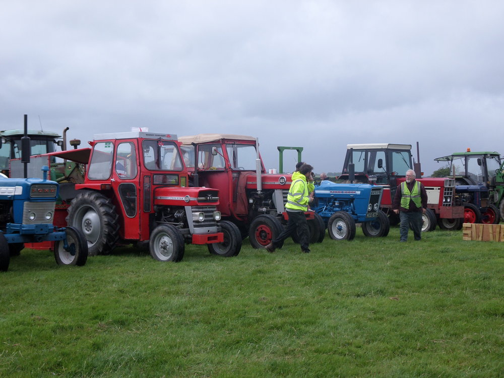 Tractors line up after the parade