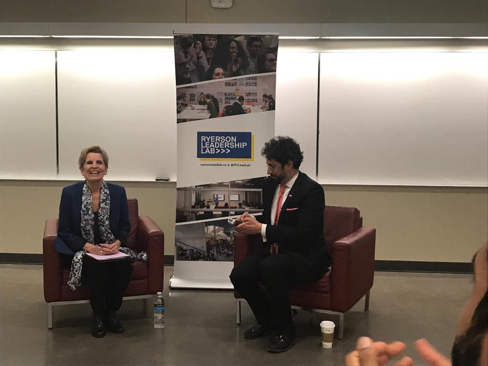 Left to right: Kathleen Wynne, Former Premier of Ontario and Karim Bardeesy engaged, January 2019.