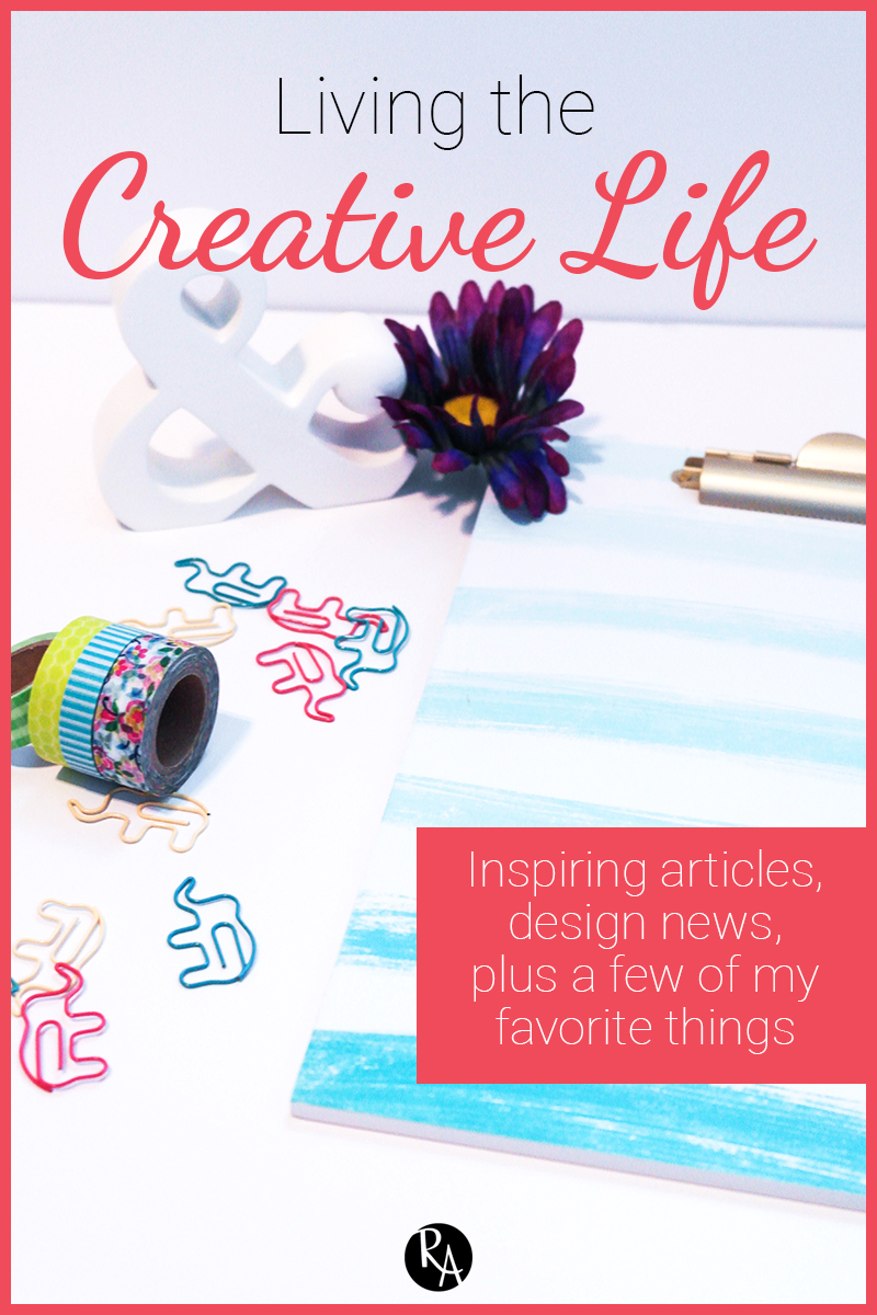 As the post title said, this is the first in a post series called Living the Creative Life. Starting today, I will be doing posts every Friday that will update you on not only my creative life, but also the design world in general. I will talk about some of my favorite things from the week and some inspiring articles and news from the world of design. So grab a snack and enjoy living the creative life.