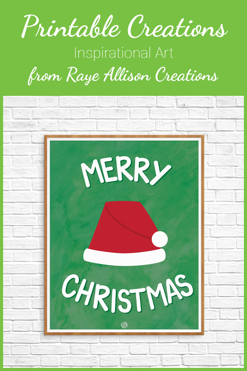 "Free inspirational printable wall art from Raye Allison Creations. This week's printable is to help in your Christmas decor, ""Merry Christmas."" Plus a bonus New Year printable. Printables are great for home or office decor, classrooms, church bulletin boards, and so much more!"