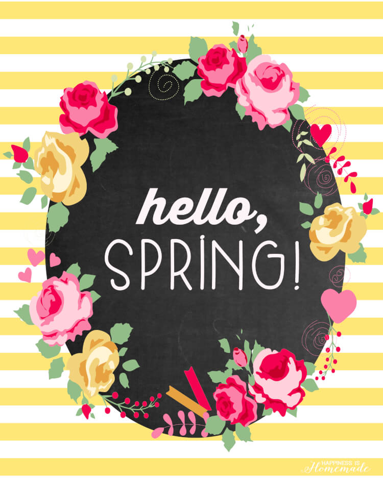"""""""Hello Spring"""" Printable from Happiness Homemade"""
