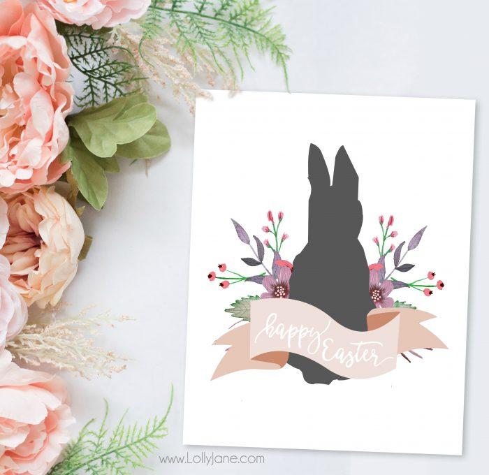 """""""Happy Easter"""" bunny printable from Lolly Jane"""