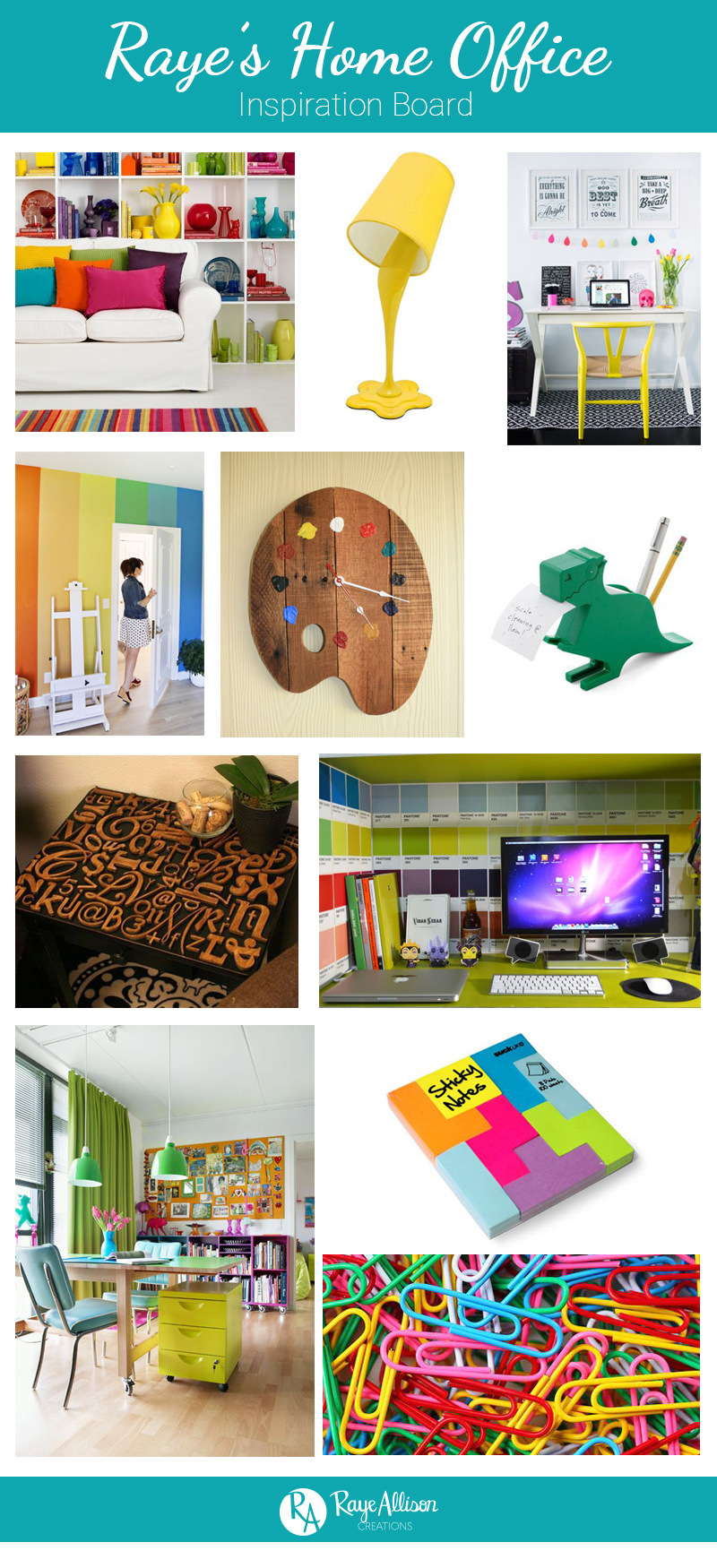 I am going to do a series on my blog with inspiration boards of ideas for different rooms in my future dream house.  Hope you find some inspiration from my home office inspiration board.