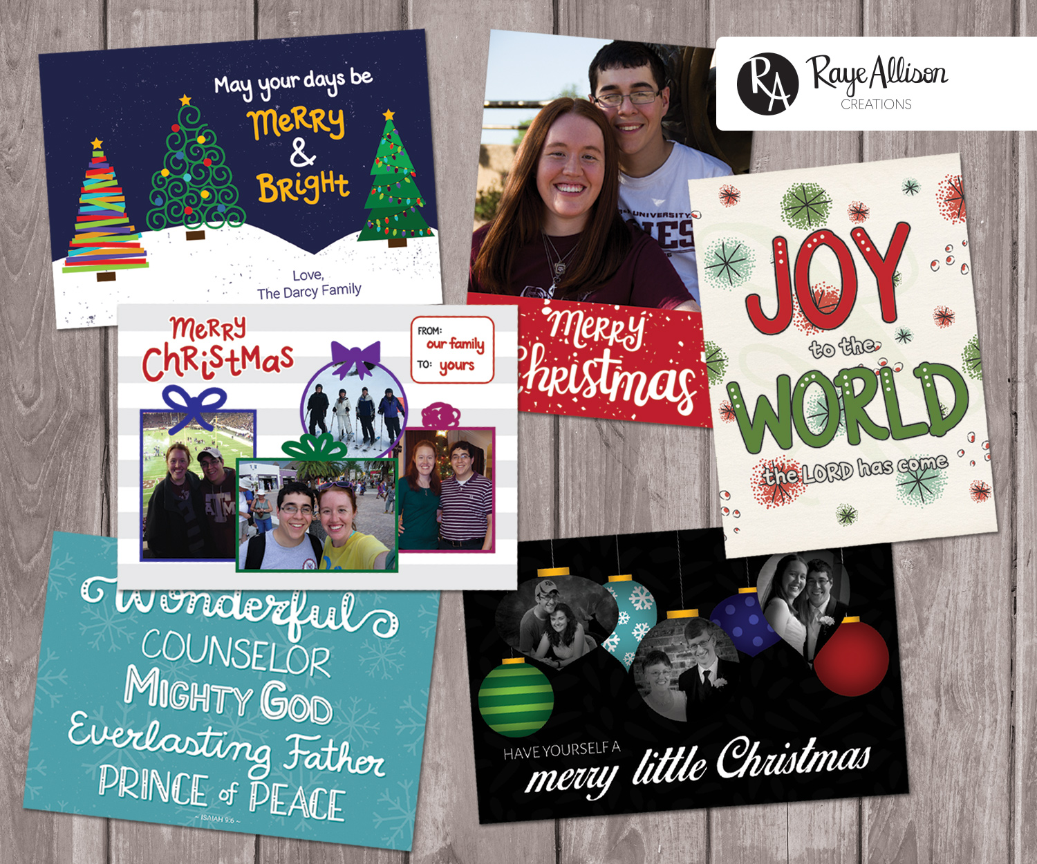 The 2017 Christmas Cards from RayeAllisonCreations are now available on Etsy. Click to read more about each of the cards and how you can customize and personalize for your family this year.