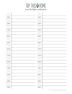 Time Budget Worksheet