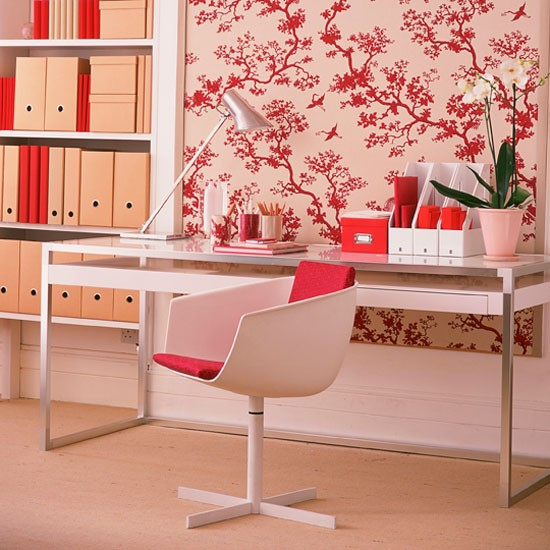 Home-office-with-pink-and-red-tree-branch-wallpaper