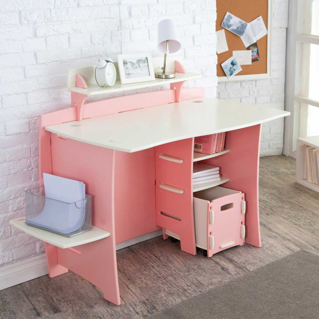 contemporary-pink-computer-desk-cart-for-home-office-with-unique-white-bricks-wall-structure