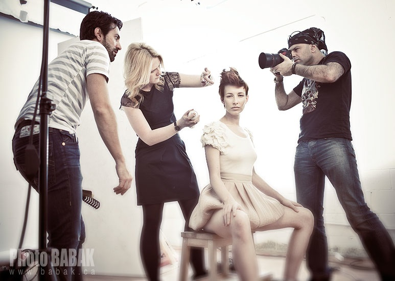 PICTURED ABOVE AND BELOW - OUR OWNER, LARA LECKIE, STYLING FOR A SHOOT WITH RENOWNED FASHION PHOTOGRAPHER BABAK.