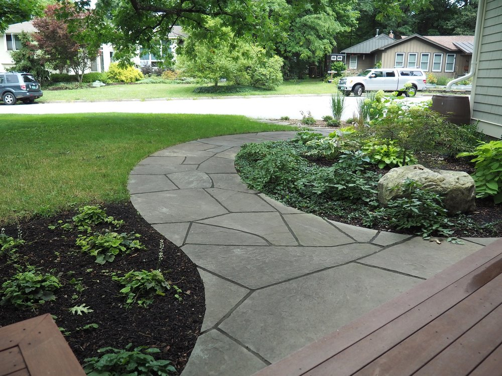 Natural stone walkway in Colchester, VT