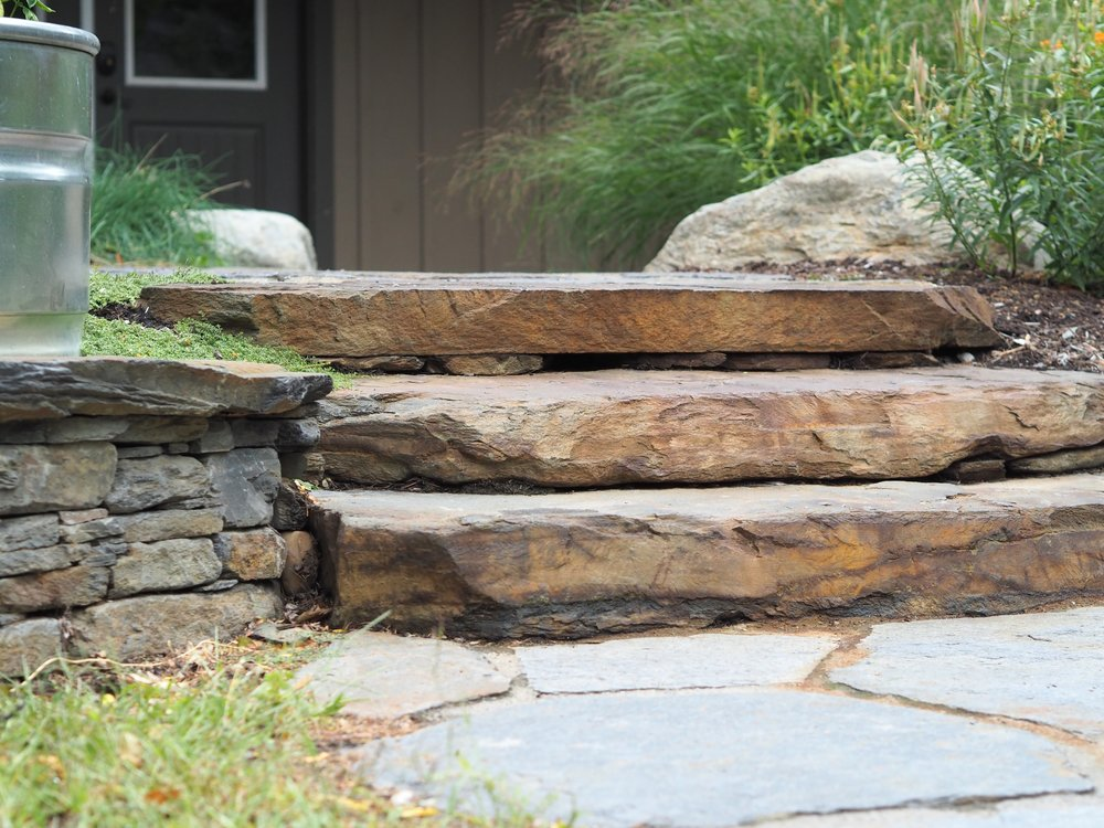 Natural stone steps and patio in Vermont