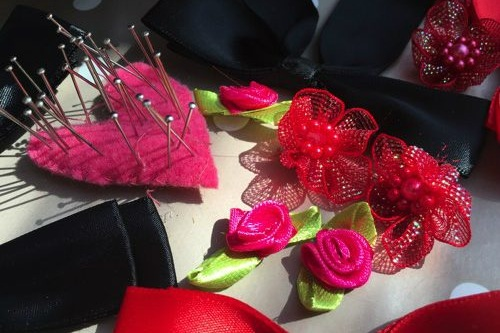 Saturday Afternoon  Sewing Bee Craft Basket – Decorate silk French knickers – one pair per guest to take home – with all the trims, bows, ribbons, feathers & lace you need to create your own frou-frou pants!