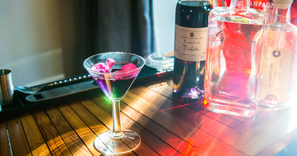 Rose petal martini. Have four alcoholic cocktails made, from premium spirits and mixers, and served to you at table