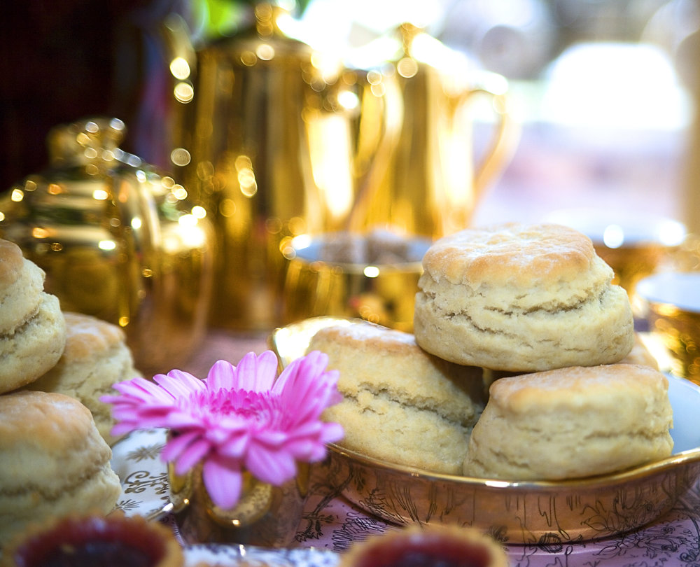 Afternoon cream teas - Bordello Banquets catering - locally produced, artisan food, stylishly displayed buffets and dinners, in a riot of colour, rich in taste.