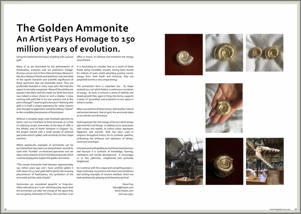 "Pages 38 & 39.  Article about my ""Golden Ammonite"" Project"