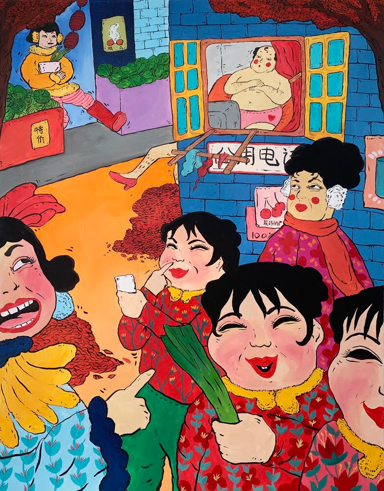 The adventure of Dama Wang in Beijing, 2018, Acrylic on canvas, 36 in x 48 in