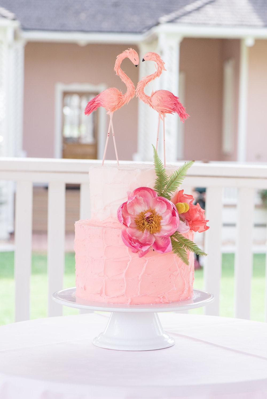 Flamingo Garden Wedding Cake | Utah Wedding Cake