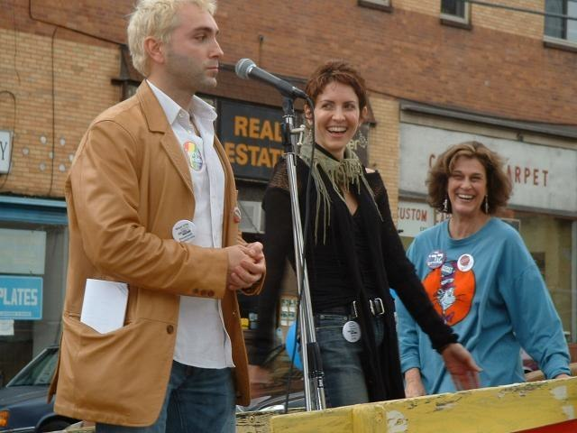 Stumping for John Kerry for President with Michelle Clunie, Pittsburgh, PA Fall 2004