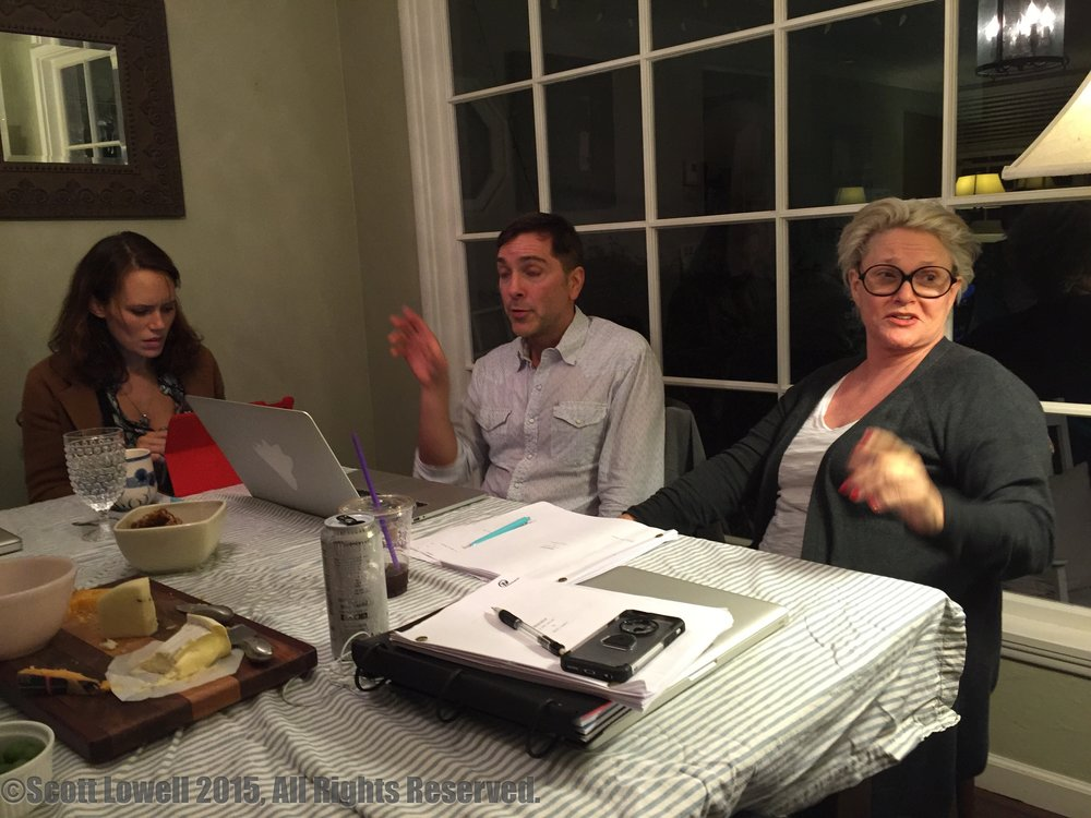 "11/04/15 Table Read of Season One of ADOPTABLE! L to R: Emily Swallow (""Lisa""), Scott Lowell (""Scott""), Sharon Gless (""Mary Elizabeths"")"