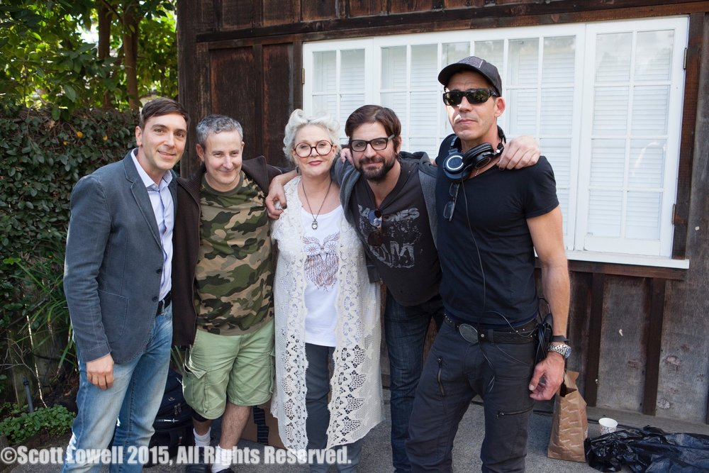 "11/09/15 ""Mary Elizabeths'"" House. L to R: Scott Lowell, Eddie Jemison, Sharon Gless, Gale Harold, Monty Miranda (Dir.)"