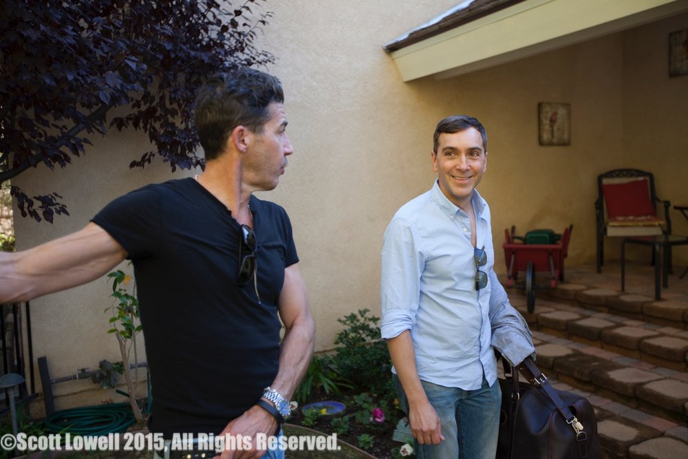 11/11/15 Arriving at Sarah & Mel's Home Scene. L to R: Monty Miranda (Dir.), Scott Lowell