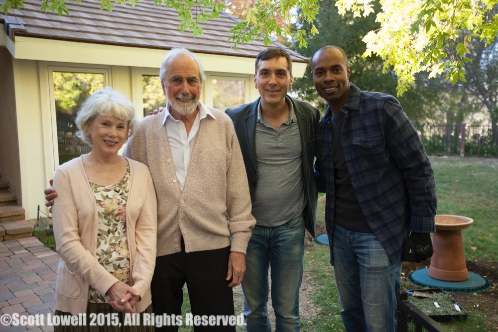 "11/11/15 Arriving at Sarah & Mel's Home Scene. L to R: Julia Duffy (""Sarah""), Jerry Lacey (""Mel""), Scott Lowell, Jacques C. Smith (""Charles"")"