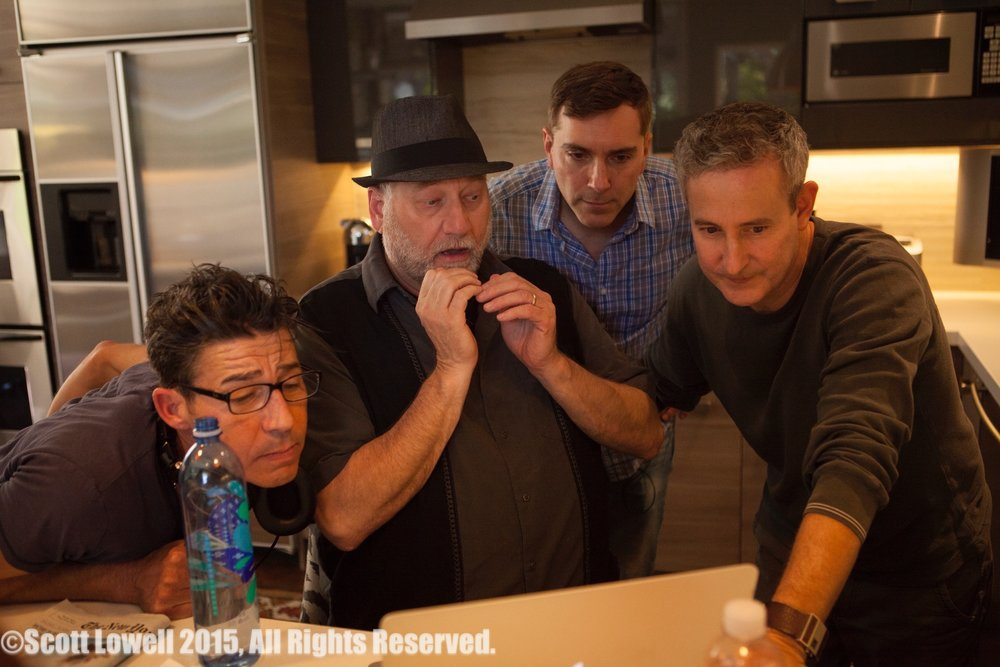 "11/13/15 Filming at ""Scott & Lisa's"" Home. L to R: Monty Miranda (Dir.), Ron Orbach (""Zolton""), Scott Lowell, Eddie Jemison (""Chaim"")"