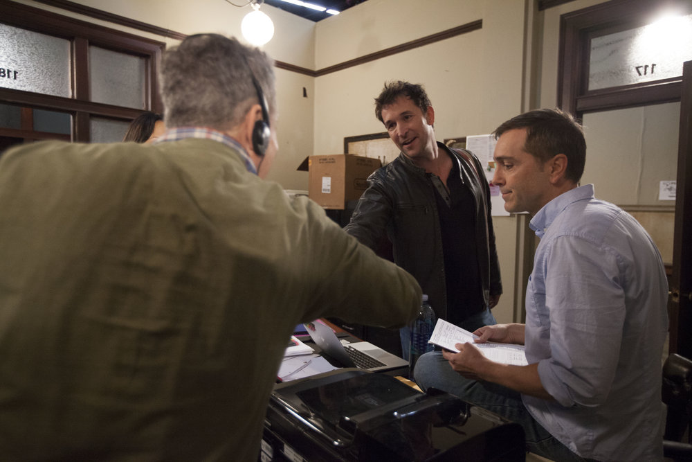"1/16/16 Cops & Bottoms Production Office Scene. L to R: Eddie Jemison (""Chaim""), Noah Wyle (""Noah""), Scott Lowell"