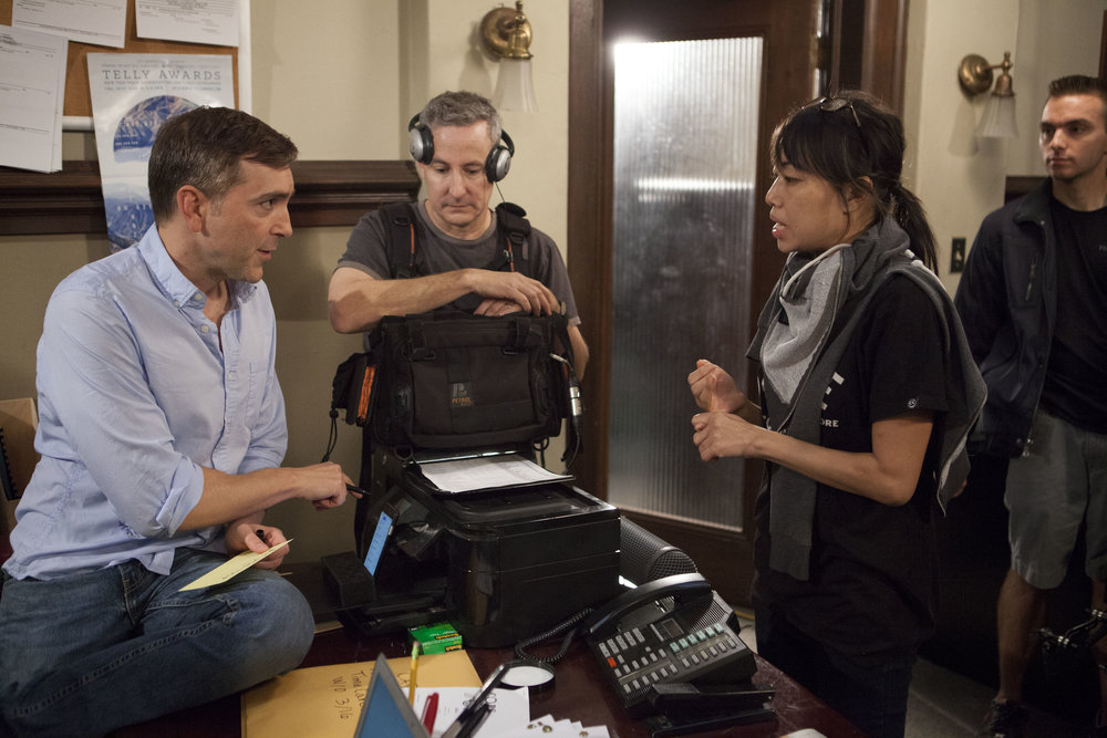"11/16/16 Cops & Bottoms Production Office Scene. L to R: Scott Lowell, Eddie Jemison (""Chaim""), Shirley Petchprapa (D.P.), Ronnie Bourdeau II (A.C.)"