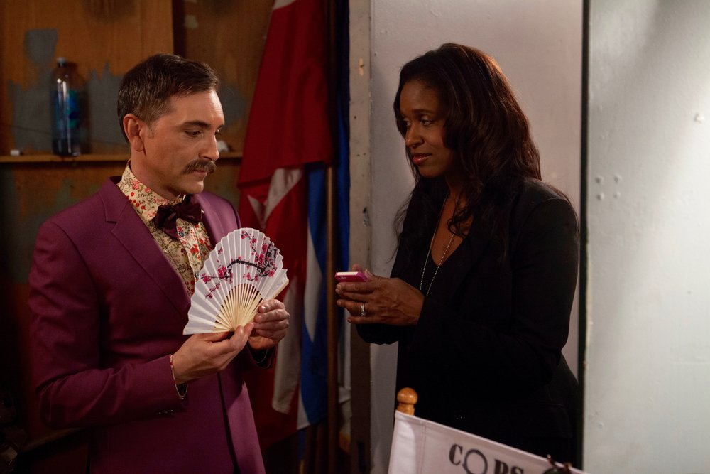 "1/16/16 Cops & Bottoms Scenes. L to R: Scott Lowell, Merrin Dungey (""Merrin""/""Capt. Jessups"")"