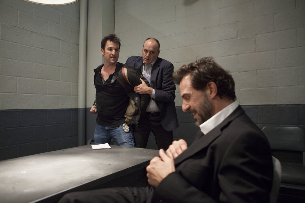 "1/16/16 Cops & Bottoms Scenes. L to R: Noah Wyle (""Noah""/""Bratkowski""), Tim True (""Det. Tim Turner), John Mese (""LaFontaine"")"