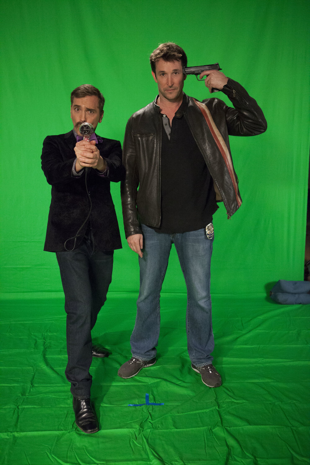 "1/16/16 Cops & Bottoms Billboard Photo Shoot. L to R: Scott Lowell, Noah Wyle (""Noah""/""Bratkowski"")"