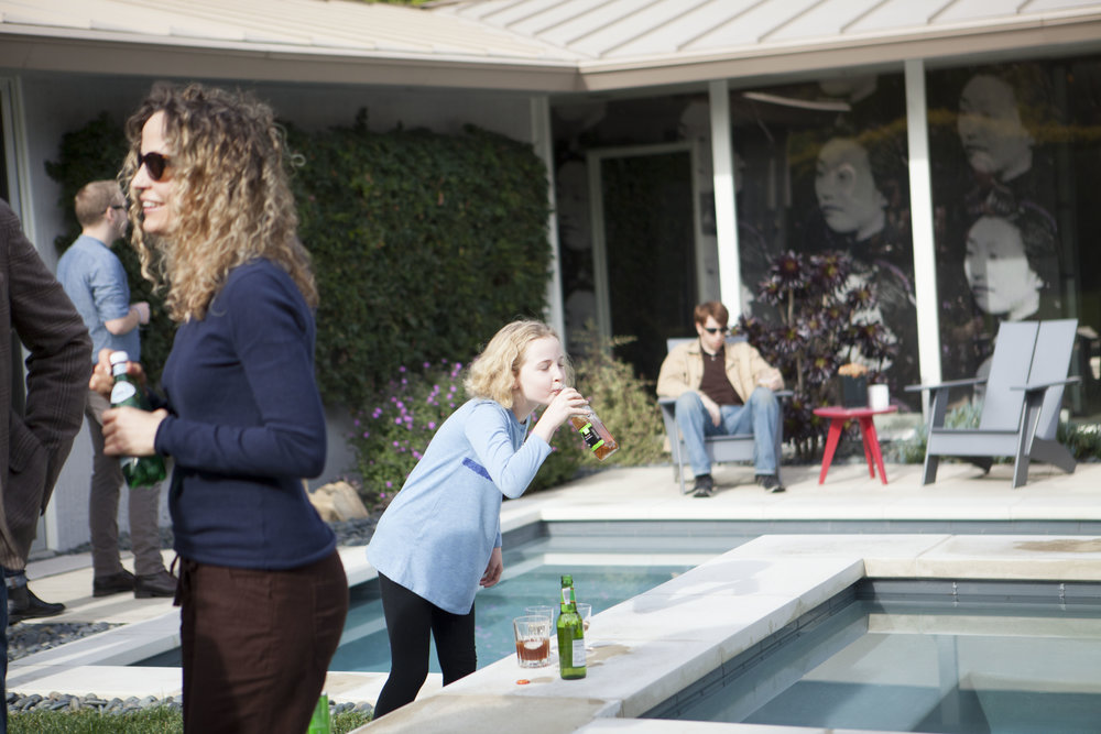 "1/17/16 Garden Party Scene. L to R: Party Guest Laura Lamson, Daisy Jemison (""Noah's Daughter""), Mike Harthen (""Lisa's Brother"")"
