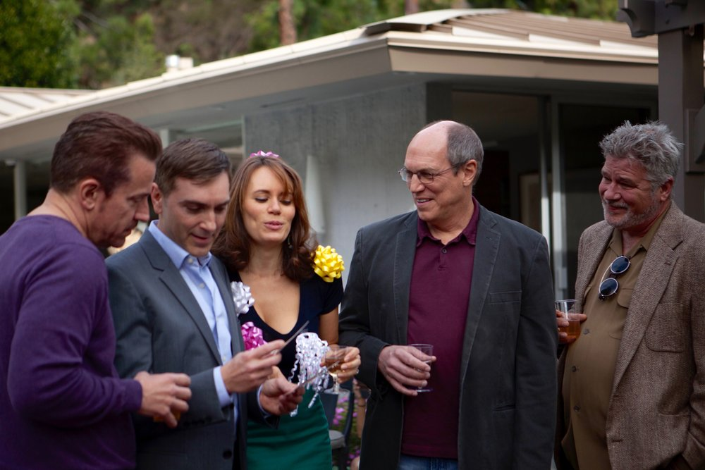 "1/17/16 Garden Party Scene. L to R: Gus Buktenica (""Declan""), Scott Lowell, Emily Swallow (""Lisa""), Marc Vann (""Tommie""), Champ Clark (""Mick"")"