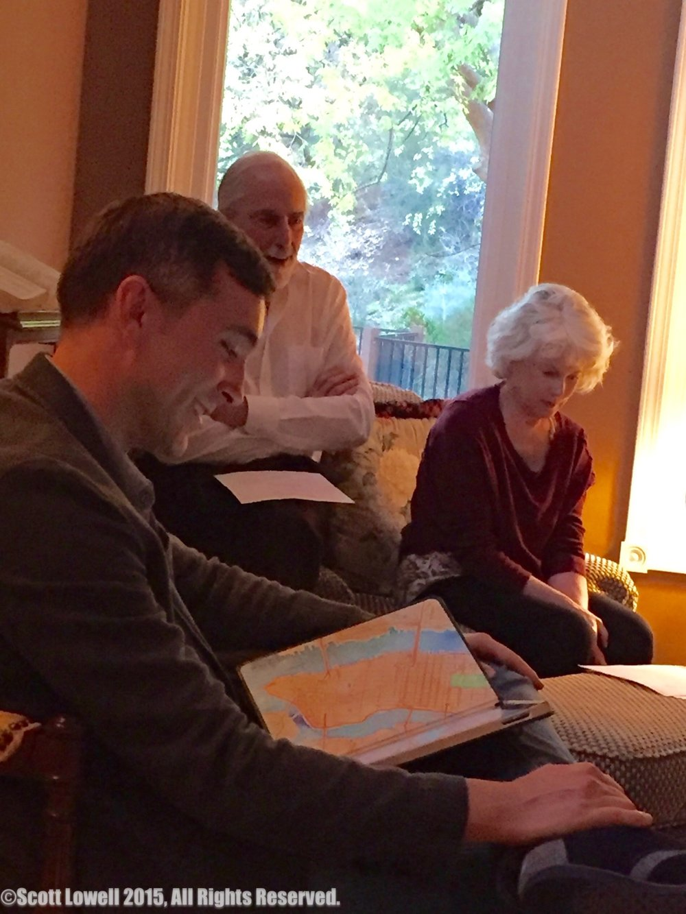 "11/11/15 Recording Sarah & Mel's Phone Call. L to R: Scott Lowell, Jerry Lacey (""Mel""), Julia Duffy (""Sarah"")"