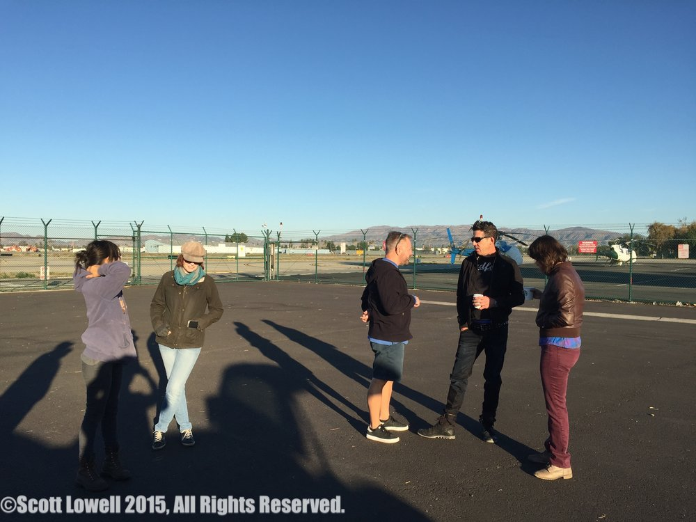 11/08/15 1st Shot of 1st Day of ADOPTABLE! Van Nuys Aiport. L to R Shilery Petchprapa (D.P.), Corinne Marrinan (Exec. Prod.), Daniel Anderson (Loc. Mgr.), Monty Miranda (Dir.), Ashley Hooker (Hair/MU)