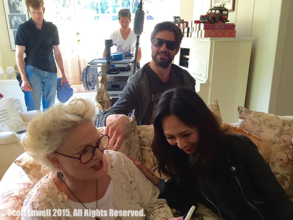 "11/09/15 ""Mary Elizabeths'"" House. L to R: Sharon Gless (""Mary Elizabeths""), Gale Harold (""Leland""), Linda Park (""Jennifer"")"