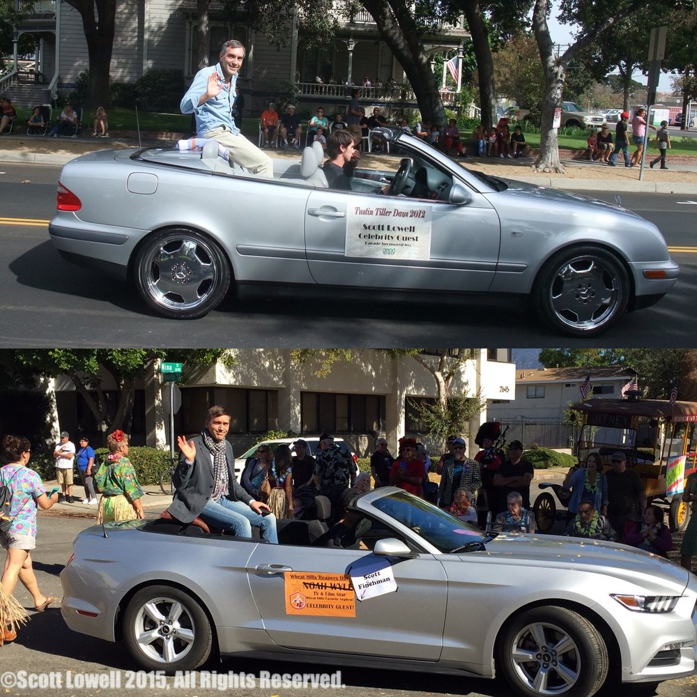 "11/22/15 Parade Scene. Reality vs. Fantasy. Scott Lowell at Tustin Tiller Days Parade 2012, ""Scott Fishman"" at Wheat Hills Reapers Day Parade 2015"