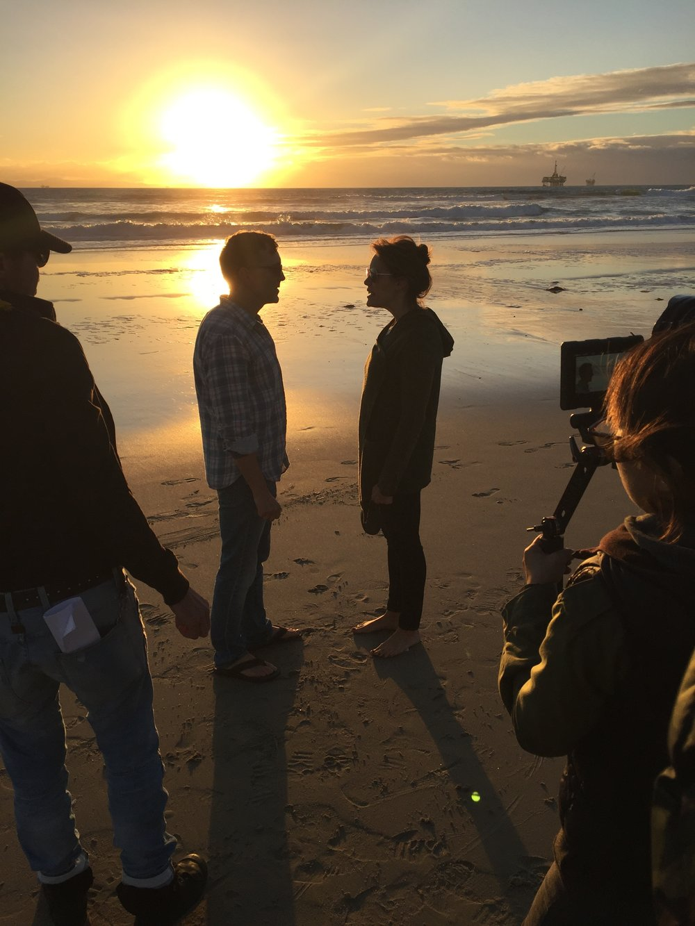 "12/13/15 Sunset Beach Scene Scene. Final Shot of 2015! L to R: Monty Miranda (Dir.), Scott Lowell, Emily Swallow (""Lisa""), Shirley Petchprapa (D.P.)"