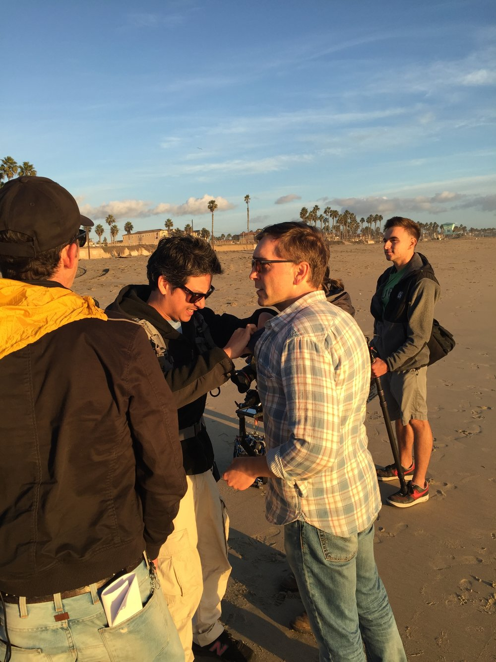 12/13/15 Sunset Beach Scene Scene. L to R: Monty Miranda (Dir.), Kevin Rosen-Quan (Sound), Scott Lowell, Ronnie Bourdeau II (A.C.)