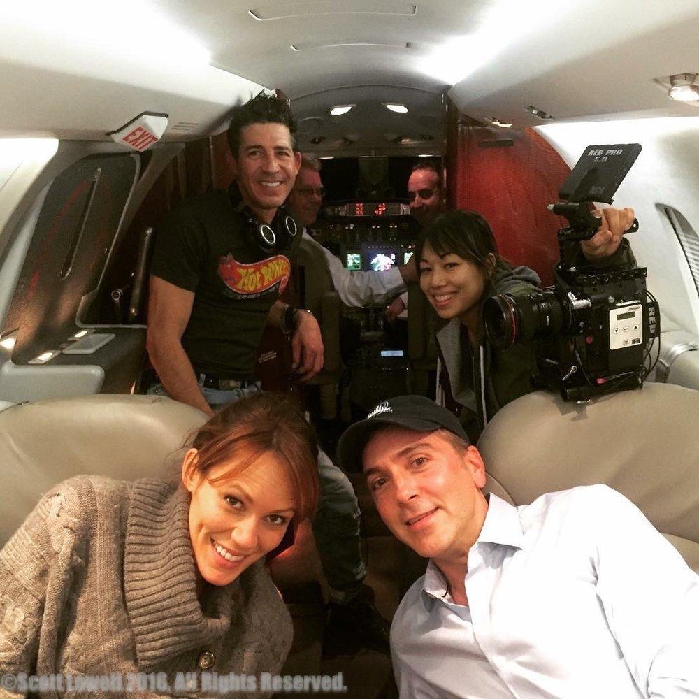 "12/13/15 Noah's Plane ""Falling Skies"" Scene. L to R: Emily Swallow (""Lisa""), Monty Miranda (Dir.), Scott Lowell, Shirley Petchprapa (D.P.)"