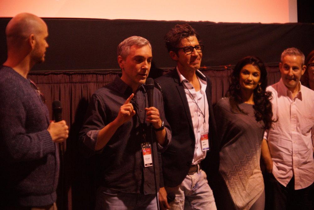 ADOPTABLE! screening at IFF 11/4/18 Q&A (l - r) Peter Paige, Scott, Monty Miranda, Anjali Bhimani, Eddie Jemison